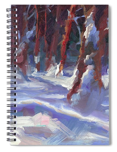 Snow Laden - Winter Snow Covered Trees Spiral Notebook