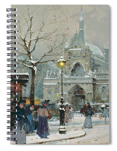 Snow Scene In Paris Spiral Notebook