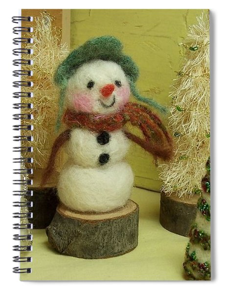 Snowman And Trees Holiday Spiral Notebook