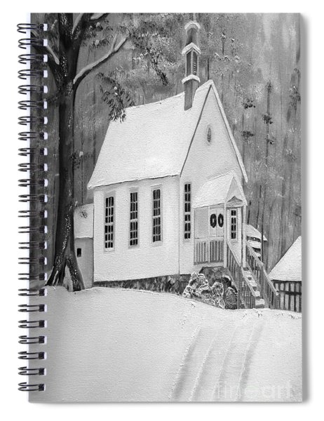 Spiral Notebook featuring the painting Snowy Gates Chapel -white Church - Portrait View by Jan Dappen