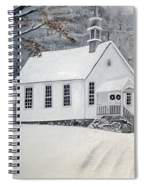 Spiral Notebook featuring the painting Snowy Gates Chapel  -little White Church - Ellijay by Jan Dappen