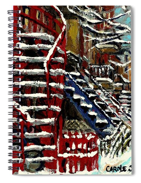 Snowy Steps The Red Staircase In Winter In Verdun Montreal Paintings City Scene Art Carole Spandau Spiral Notebook