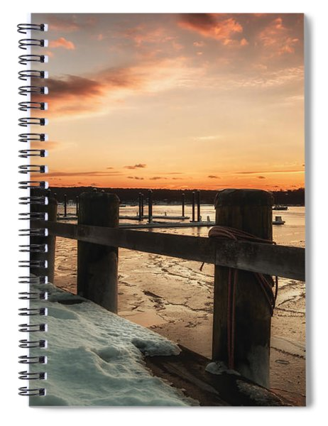 Snowy Sunset In Northport New York Spiral Notebook