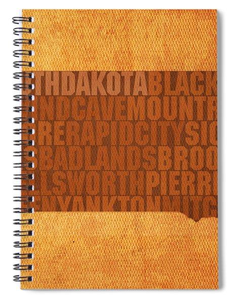 South Dakota Word Art State Map On Canvas Spiral Notebook
