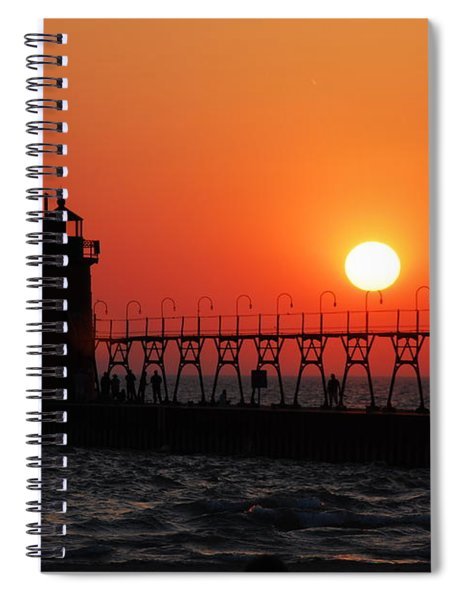 South Haven Lighthouse At Sunset 1 Spiral Notebook