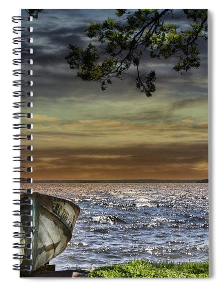 South Manistique Lake With Rowboat Spiral Notebook