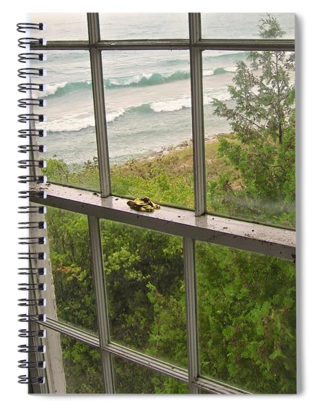South Manitou Island Lighthouse Window Spiral Notebook