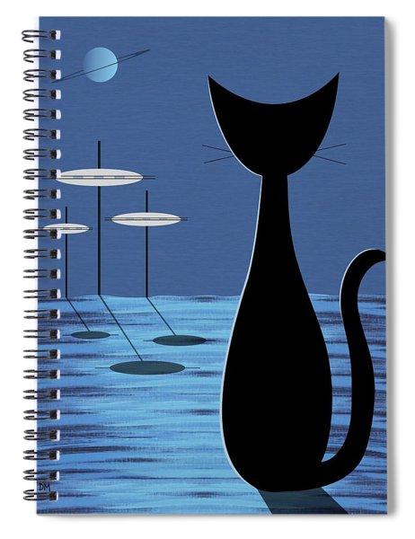 Space Cat In Blue Spiral Notebook