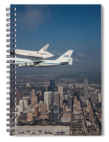 Space Shuttle Endeavour Over Houston Texas Spiral Notebook