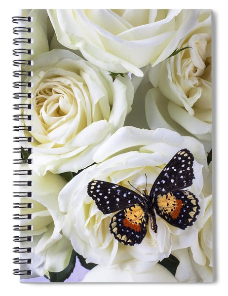 Speckled Butterfly On White Rose Spiral Notebook