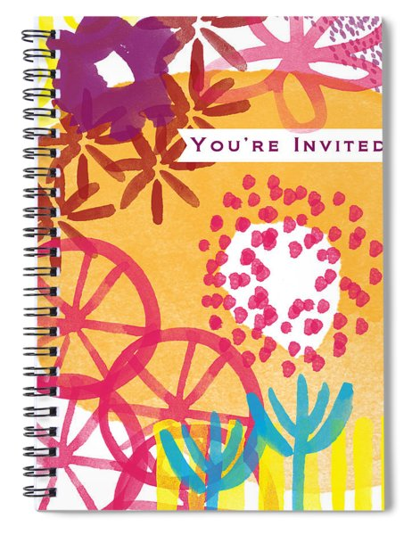 Spring Floral Invitation- Greeting Card Spiral Notebook by Linda Woods