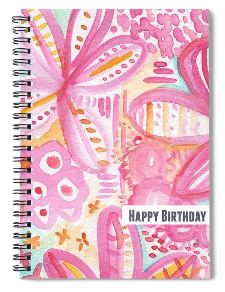 Spring Flowers Birthday Card Spiral Notebook