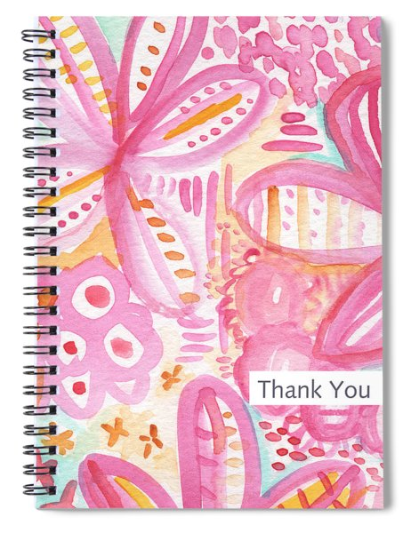 Spring Flowers Thank You Card Spiral Notebook by Linda Woods