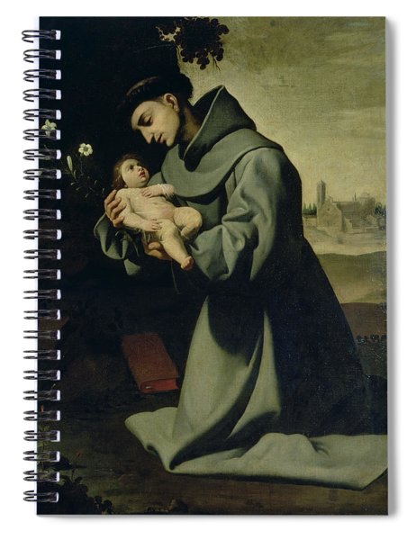 St. Anthony Of Padua Oil On Canvas Spiral Notebook