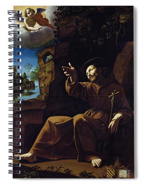 St. Francis Of Assisi Consoled By An Angel Musician Oil On Canvas Spiral Notebook