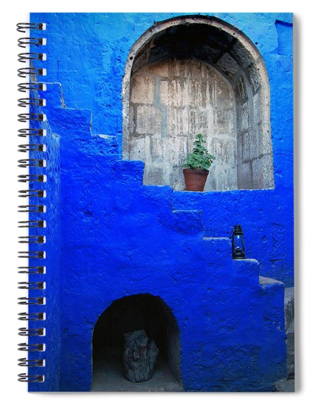 Staircase In Blue Courtyard Spiral Notebook