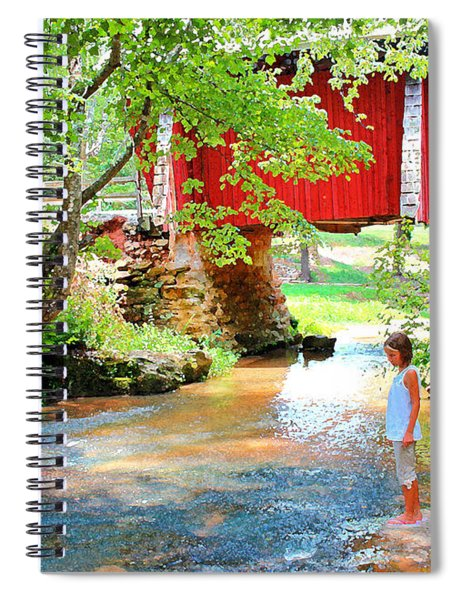 Standing By The River At Campbell's Bridge Spiral Notebook