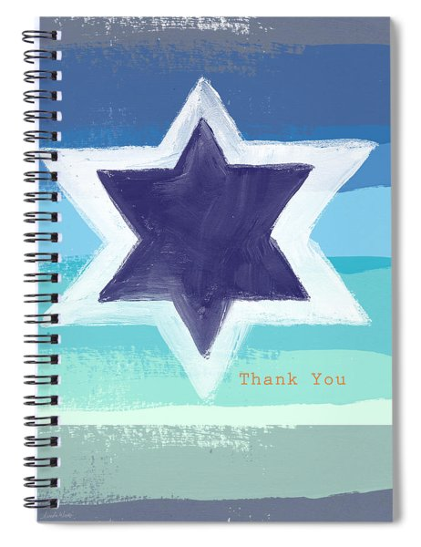 Star Of David In Blue - Thank You Card Spiral Notebook