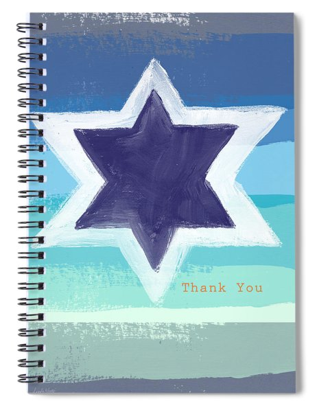 Star Of David In Blue - Thank You Card Spiral Notebook by Linda Woods