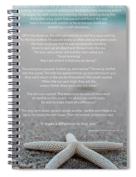 Starfish Make A Difference  Spiral Notebook