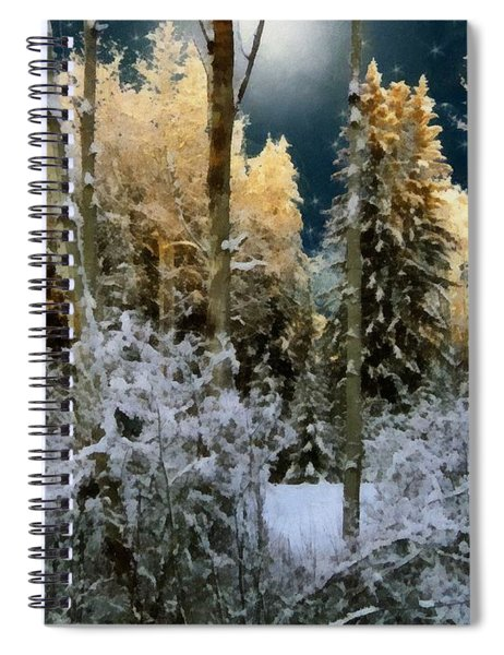 Starshine On A Snowy Wood Spiral Notebook
