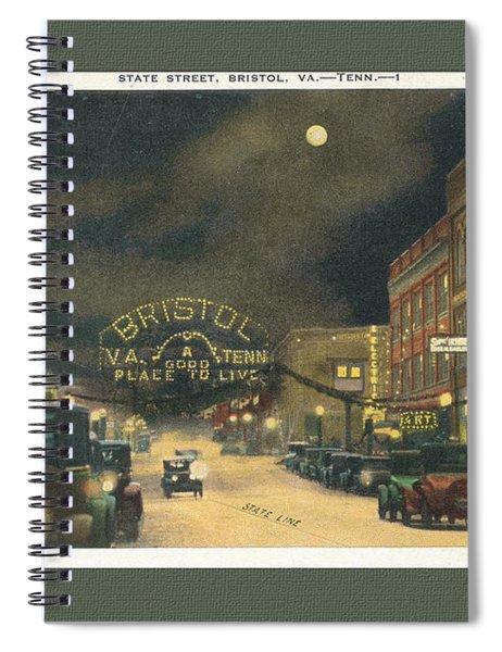 State Street Bristol Va Tn At Night Spiral Notebook