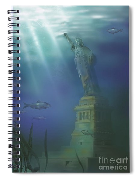 Statue Of Liberty Under Water Spiral Notebook