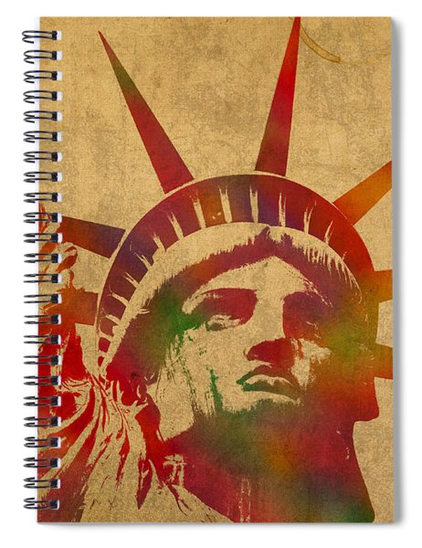 Statue Of Liberty Watercolor Portrait No 2 Spiral Notebook