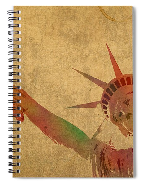 Statue Of Liberty Watercolor Portrait No 3 Spiral Notebook