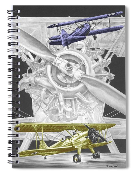 Stearman - Vintage Biplane Aviation Art With Color Spiral Notebook