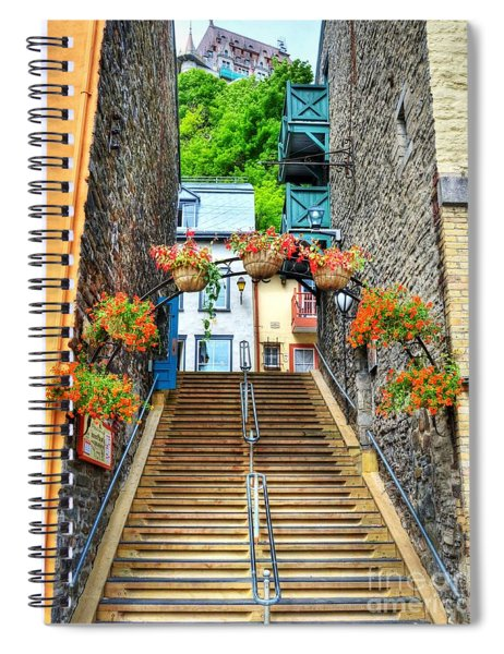 Spiral Notebook featuring the photograph Steps Of Old Quebec by Mel Steinhauer