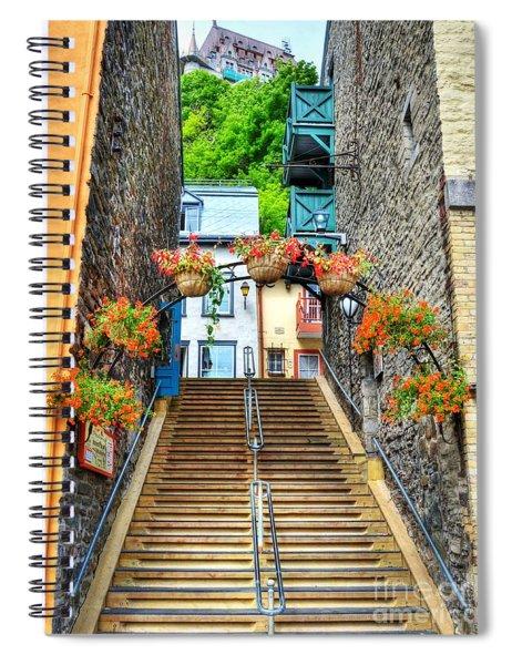 Steps Of Old Quebec Spiral Notebook by Mel Steinhauer