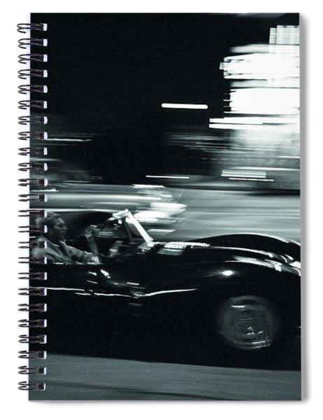 Steve Mcqueen Jaguar Xk-ss On Sunset Blvd Spiral Notebook