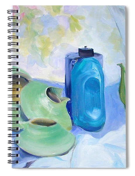 Oil Painting Still Life Study Of Blue And Green Pottery Spiral Notebook