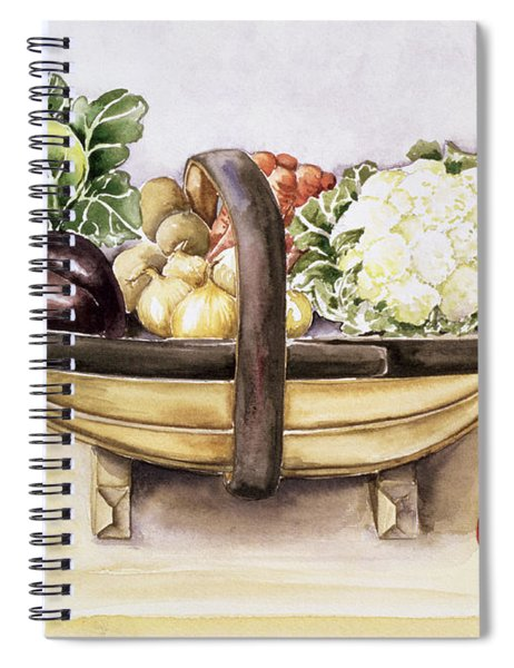 Still Life With A Trug Of Vegetables Spiral Notebook