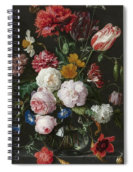 Still Life With Flowers In Glass Vase Spiral Notebook