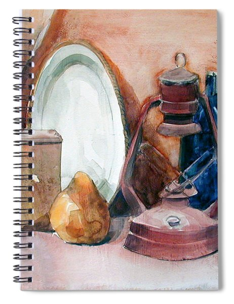 Watercolor Still Life With Rustic, Old Miners Lamp Spiral Notebook