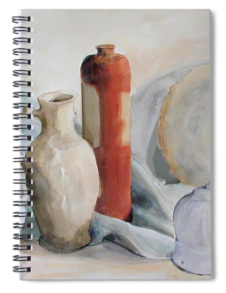 Watercolor Still Life With Pottery And Stone Spiral Notebook