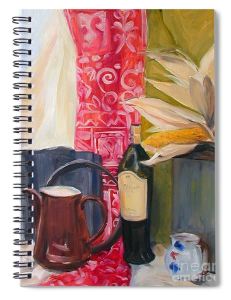 Oil Painting Still Life With Red Cloth And Pottery Spiral Notebook