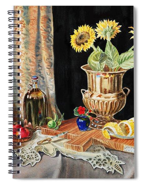 Still Life With Sunflowers Lemon Apples And Geranium  Spiral Notebook