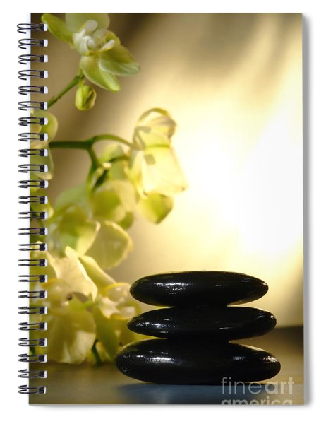 Stone Cairn And Orchids Spiral Notebook by Olivier Le Queinec