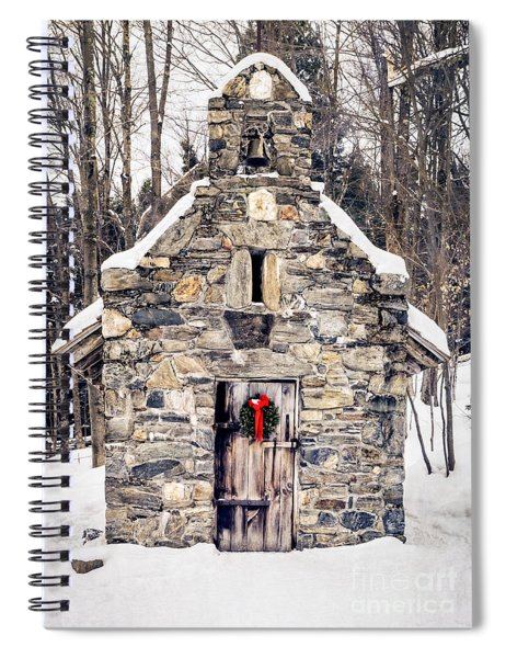 Spiral Notebook featuring the photograph Stone Chapel In The Woods Trapp Family Lodge Stowe Vermont by Edward Fielding