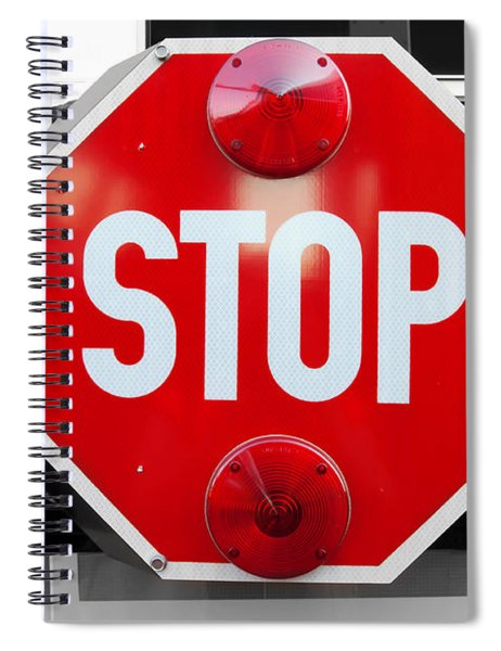 Stop Bw Red Sign Spiral Notebook