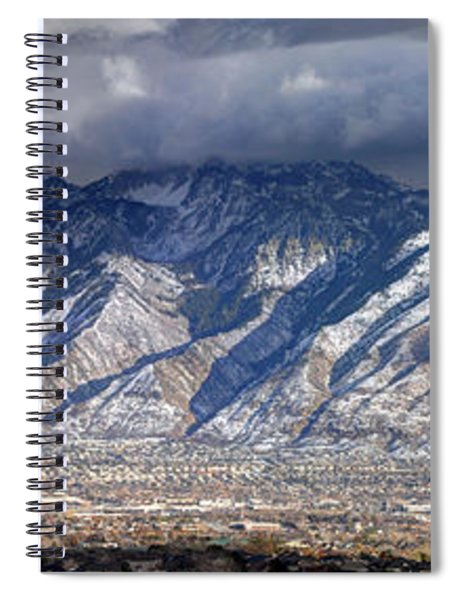 Storm Front Passes Over The Wasatch Mountains And Salt Lake Valley - Utah Spiral Notebook