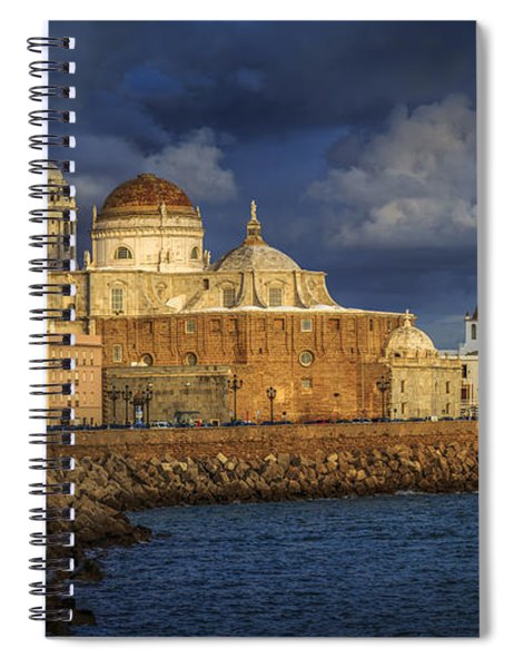 Stormy Skies Over The Cathedral Cadiz Spain Spiral Notebook