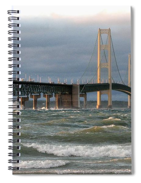 Stormy Straits Of Mackinac Spiral Notebook