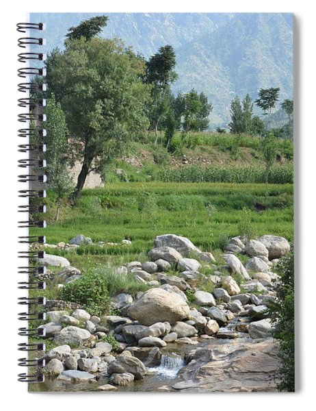 Stream Trees House And Mountains Swat Valley Pakistan Spiral Notebook
