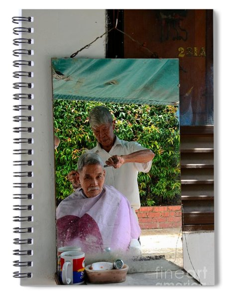 Street Side Barber Cuts Client Hair Singapore Spiral Notebook