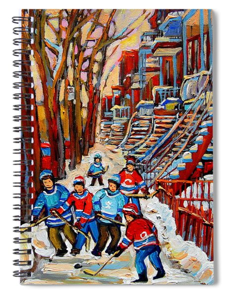 Streets Of Verdun Hockey Art Montreal Street Scene With Outdoor Winding Staircases Spiral Notebook