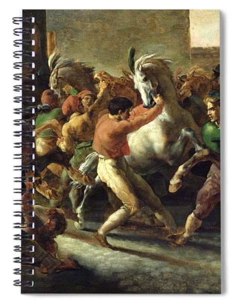 Study For The Race Of The Barbarian Horses, 1817 Oil On Canvas Spiral Notebook